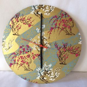 30 cm diameter wall clock made with hand printed Japanese Ch...