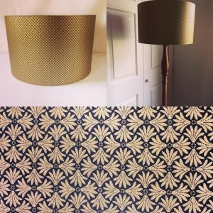 40 cm drum lampshade hand made with hand printed Japanese Ch...