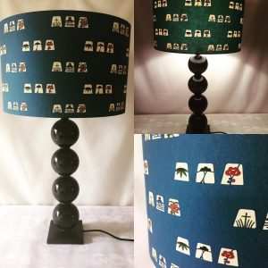 40 cm lampshade made from Katazomi-shi, a hand stencilled pa...