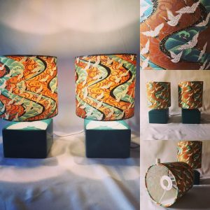 A stunning Japanese chiyogami print on two little lampshades...