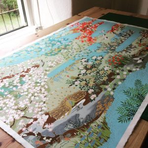Another sheet of gorgeous Sogara Yuzen about to be turned in...