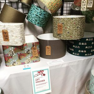 Big lampshade corner at Art in the Pen, Thirsk Auction Mart,...