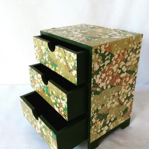 Chiyogami covered mini chest of drawers 19.7 cm high x 15.3 ...
