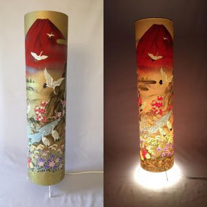 Floor lamp made from hand silk screen printed Japanese Sogar...