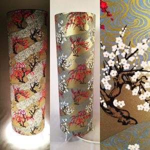 Floor lamp made with hand silk screen printed Japanese chiyo...