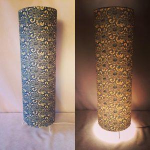 Floor lamp made with handmade hand printed Japanese Chiyogam...