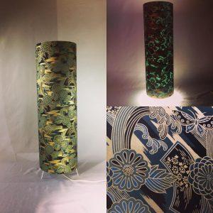 Floorlamp handmade with hand printed Japanese Chiyogami pape...