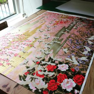 Gorgeous sheet of Sogara Yuzen about to become a floorlamp! ...