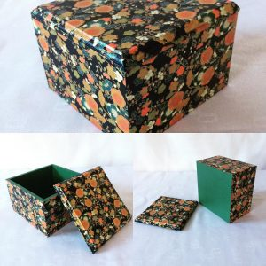 Hand printed Japanese Chiyogami paper covered wooden box. Pl...