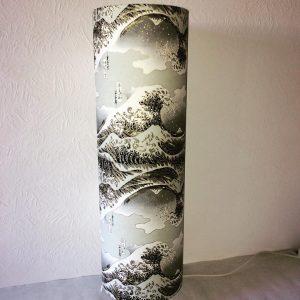 Hokusai's Wave. Handmade floor lamp 70 cm high 20 cm diamete...