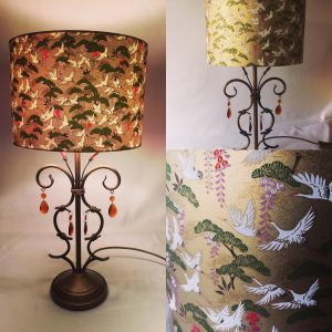 Japanese Chiyogami paper lampshade with cranes 30 cm diamete...