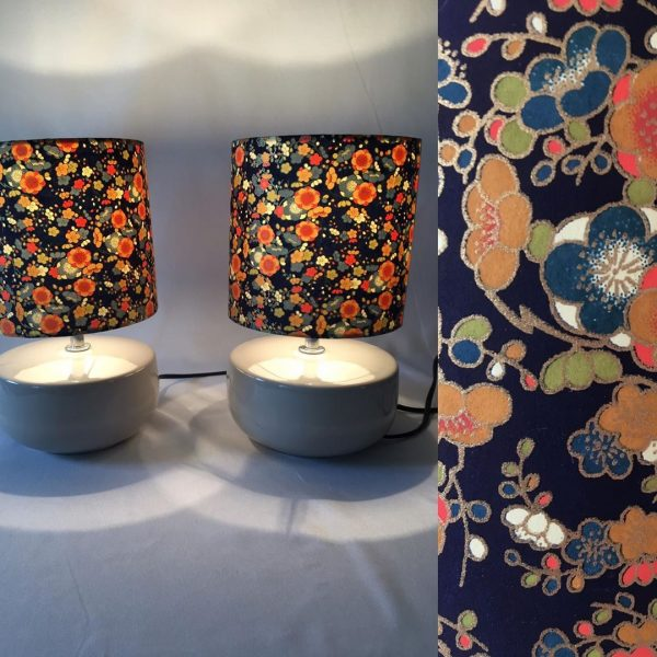 Little lampshades made from hand silk screen printed Japanes...