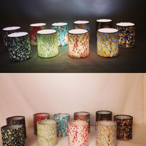 Little lanterns made from hand printed Japanese Chiyogami pa...