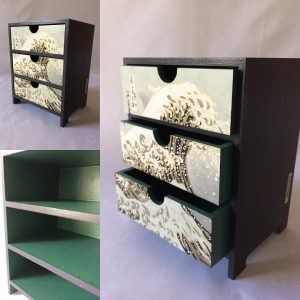 Mini chest of 3 drawers 15cm wide x 11.5 cm deep x 19 cm hig...
