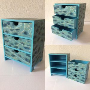Mini chest of drawers covered in hand printed Japanese Chiyo...