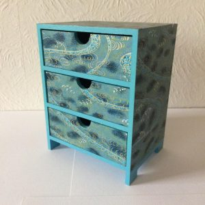 Miniature chest of 3 drawers covered in Japanese Chiyogami p...