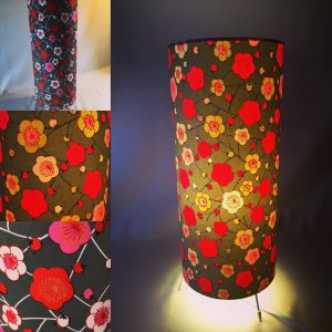 Table lamp 38 x 15 cm made with hand silk screen printed Jap...