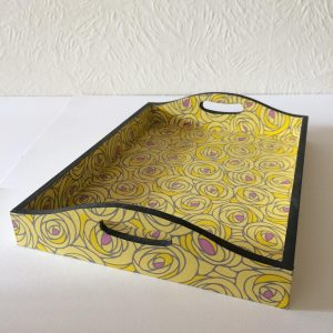 This tray covered with Japanese Chiyogami paper is 26 cm lon...